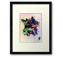 France map watercolor style splash Framed Print