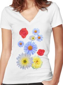 Colorful flowers like living Women's Fitted V-Neck T-Shirt