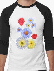 Colorful flowers like living Men's Baseball ¾ T-Shirt