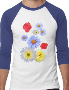Colorful flowers like living Men's Baseball ¾ T-Shirt