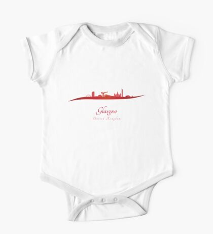 Glasgow skyline in red One Piece - Short Sleeve