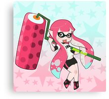 Pink Roller Girl Inkling Canvas Print