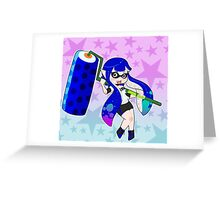 Blue Roller Girl Inkling Greeting Card