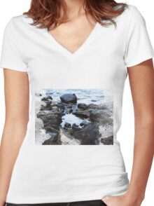 Rocky Beach Photo, Rock Pool Women's Fitted V-Neck T-Shirt