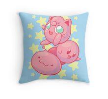 Pink Puff Trio Throw Pillow