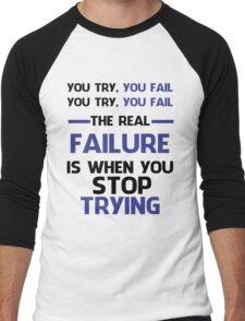 NEVER STOP TRYING - BLACK&BLUE Men's Baseball ¾ T-Shirt