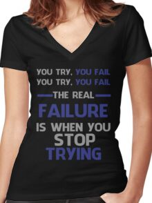 NEVER STOP TRYING - GREY&BLUE Women's Fitted V-Neck T-Shirt