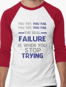 NEVER STOP TRYING - GREY&BLUE Men's Baseball ¾ T-Shirt