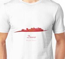 Denver skyline in red Unisex T-Shirt