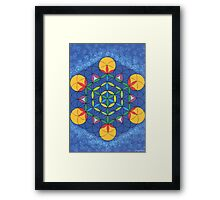 1205 - Flower of Life on Fire in Blue and Shining Environment Framed Print