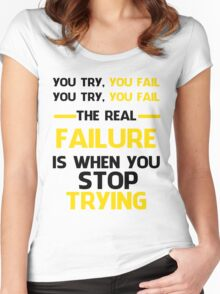 NEVER STOP TRYING - BLACK&YELLOW Women's Fitted Scoop T-Shirt
