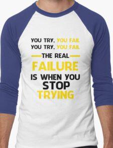 NEVER STOP TRYING - BLACK&YELLOW Men's Baseball ¾ T-Shirt