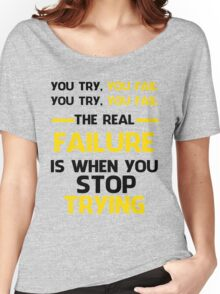 NEVER STOP TRYING - BLACK&YELLOW Women's Relaxed Fit T-Shirt