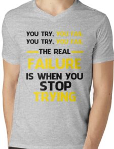 NEVER STOP TRYING - BLACK&YELLOW Mens V-Neck T-Shirt