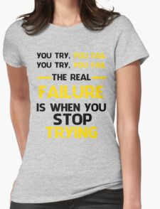 NEVER STOP TRYING - BLACK&YELLOW Womens Fitted T-Shirt