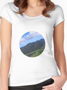 Aerial Photo Mountains Scenic Countryside Women's Fitted Scoop T-Shirt