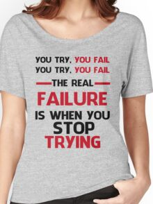 NEVER STOP TRYING - BLACK&RED Women's Relaxed Fit T-Shirt
