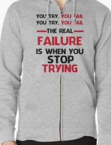 NEVER STOP TRYING - BLACK&RED Zipped Hoodie