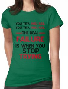 NEVER STOP TRYING - BLACK&RED Womens Fitted T-Shirt
