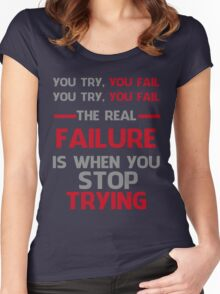 NEVER STOP TRYING - GREY&RED Women's Fitted Scoop T-Shirt
