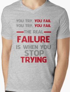 NEVER STOP TRYING - GREY&RED Mens V-Neck T-Shirt