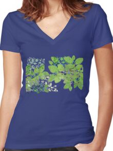 Blueberries from Nova Scotia Women's Fitted V-Neck T-Shirt