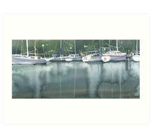 Boats at the marina of Morlaix, Brittany Art Print