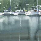 Boats at the marina of Morlaix, Brittany by Sergei Kurbatov