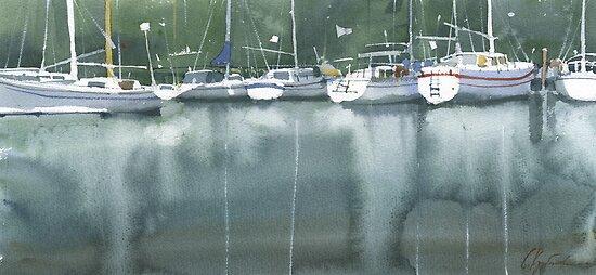 Boats at the marina of Morlaix, Brittany by Sergei Kurbatov