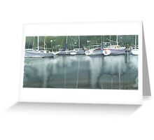 Boats at the marina of Morlaix, Brittany Greeting Card