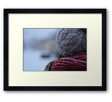 back of a woman's head in winter Framed Print