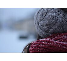 back of a woman's head in winter Photographic Print