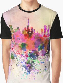Tokyo skyline in watercolor background Graphic T-Shirt