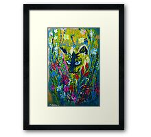 Garden Hunter - Cat Painting Garden Flower Art Hand Painted Design Framed Print