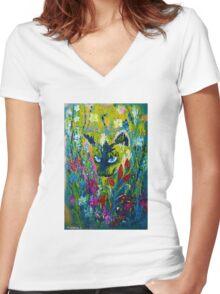 Garden Hunter - Cat Painting Garden Flower Art Hand Painted Design Women's Fitted V-Neck T-Shirt