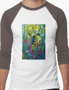 Garden Hunter - Cat Painting Garden Flower Art Hand Painted Design Men's Baseball ¾ T-Shirt