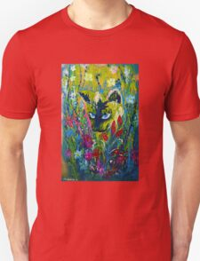 Garden Hunter - Cat Painting Garden Flower Art Hand Painted Design Unisex T-Shirt
