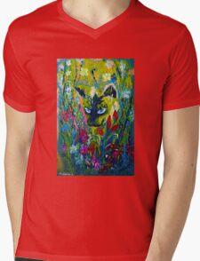 Garden Hunter - Cat Painting Garden Flower Art Hand Painted Design Mens V-Neck T-Shirt