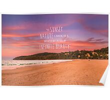 Noosa Beach Sunset Pillow with Quote - Australia Poster