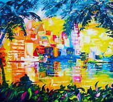 Bright Cityscape Through Palm Trees Romantic Couple Painting by Ekaterina Chernova