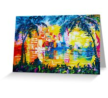 Bright Cityscape Through Palm Trees Romantic Couple Painting Greeting Card