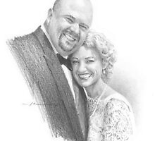 happy newlyweds drawing by Mike Theuer