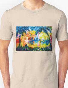 Bright Cityscape Through Palm Trees Romantic Couple Painting Unisex T-Shirt