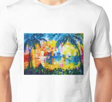 Bright Cityscape Through Palm Trees Romantic Couple Painting Unisex T-Shirt