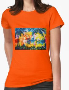 Bright Cityscape Through Palm Trees Romantic Couple Painting Womens Fitted T-Shirt