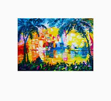 Bright Cityscape Through Palm Trees Romantic Couple Painting T-Shirt