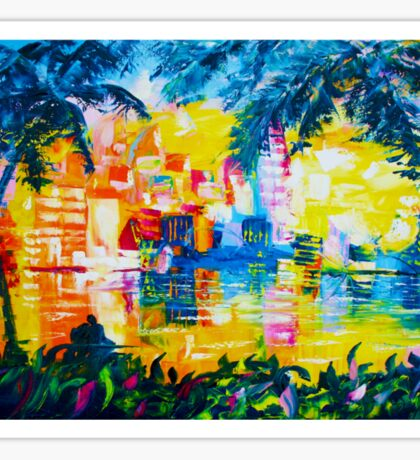 Bright Cityscape Through Palm Trees Romantic Couple Painting Sticker