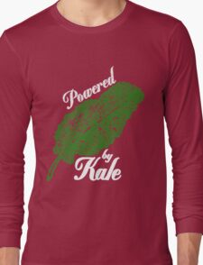 Awesome Unique Vegan T-Shirt - Powered By Kale For Men And Women Long Sleeve T-Shirt