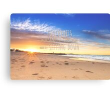 Noosa Beach Sunset Pillow with Quote - Australia Canvas Print