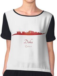 Doha skyline in red Chiffon Top